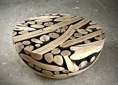 Quite frankly amazing furniture from Jae Hyo Lee, whole logs are attached together and carved into beautiful objects.