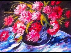 Renoir's  Red Peonies step by step  60 min. acrylic painitng tutorial