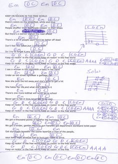 Keep On Rocking In The Free World (Neil Young) Guitar Chord Chart