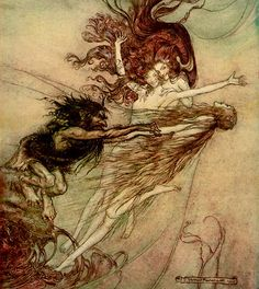 Alberich  teasing the Rhine-maidens pursued  by Arthur Rackham (1867–1939)