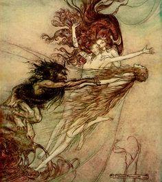 Alberich  teasing the Rhine-maidens pursued  by Arthur Rackham (1867–1939)