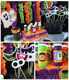 Halloween kids Fun table but Mardi Gras colors. They can decorate their  pumpkins too!