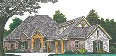 English Country Style House Plans - 2130 Square Foot Home , 1 Story, 4 Bedroom and 3 Bath, 3 Garage Stalls by Monster House Plans - Plan 2200 Sq Ft House Plans, House Floor Plans, European House Plans, Country Style House Plans, French Country Bedrooms, French Country House, English Country Style, Monster House Plans, Architectural Design House Plans
