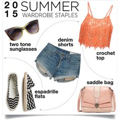 2015 Summer Wardrobe Staples by qhart09 on Polyvore featuring polyvore fashion style Alice + Olivia rag & bone Kooba summerfashion summer2015 summerstaples