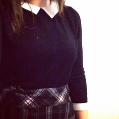 Check skirt and collared jumper // work clothing // smart casual Sixth Form College, Sixth Form Outfits, Smart Casual, Collars, Jumper, Turtle Neck, Fashion Outfits, Clothing, Skirts