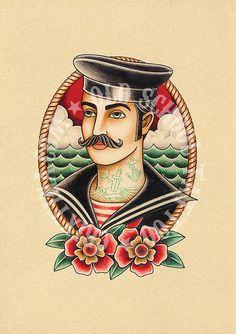 T02. Sailor. Flash tattoo. Old school tattoo. Art por Retrocrix