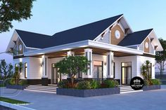 House Outside Design, Simple House Design, Design Your Dream House, Home Building Design, Building A House, One Storey House, House Design Pictures, Thai House, Beautiful House Plans