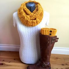 Boot cuff set with infinity scarf  Autumn by GrindleHillFineGoods