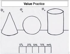 Practice sheet for Value except students need to recreate shapes on own (teacher example as handout)