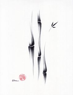 EXHALE - Original Sumie Ink Brush Bamboo Painting by Rebecca Rees by BeccasPlace on Etsy