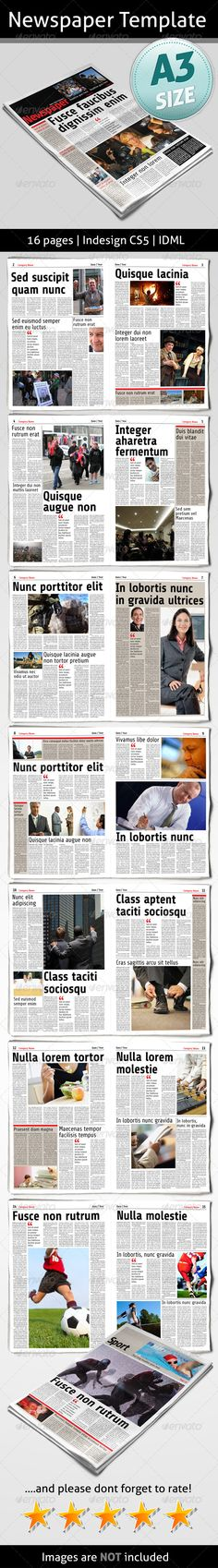 Berliner Newspaper Template 20 Pages | Print Templates, Newsletter