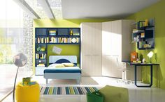 Fascinating Kids Bedroom Interior Design With Wooden Corner Wardrobe Beside Elegant Study Table And Striped Rug On Floor Fron The Bed Along With Bookcase Ideas On The Wall Corner Beside Wide Window Amazing Kids Bedroom Design with Smart Concept Bedroom Bedroom design http://seekayem.com