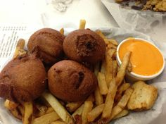 """The Chili Bomb from the great Wiener and Still Champion in Evanston, Ill. (chili, mixed with melted cheese, wrapped in cornbread and fried): """"These are just like geodes, except the inside is in no way beautiful."""""""