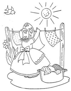 Little Girl Embroidery Designs: Laundry Girl Embroidery Pattern