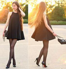 Let Them Stare Black Simple Dress, Persunmall Black Pumps
