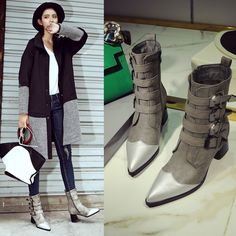 Fashion Women Ladies Pointy Toe Multi Colored Buckles Mid Calf Boots Side Zipper