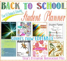 Free Student Planners and Covers @ Tina Dynamic Homeschool Plus completely customizable printable planner! Homeschool Student Planner, Curriculum Planner, Student Planner Printable, Lesson Planner, Teacher Planner, Homeschool Blogs, Academic Planner, Homeschooling Resources, Bujo