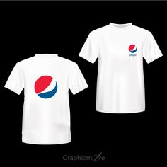 Pepsi Company White T-Shirt Front & Back Side Design Free Vector File