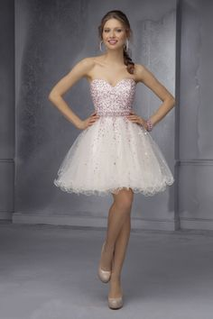 2015 Beaded Bodice Sweetheart A Line Short/Mini Homecoming Dresses Tulle