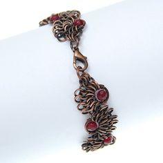 garnet bracelet / copper jewelry / chainmaille by Verha on Etsy