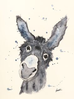 Watercolor, painting, donkey, animal portrait, gift idea, 9x12,