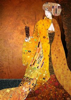 """""""Tribute to Gustav Klimt"""" – 11 x 14″ – SAI and Photoshop. """"The Kiss"""", """"Tree of Life"""", and """"Adele Bloch Bauer I"""" by Gustav Klimt"""