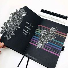 Bullet Journal Lettering Ideas, Bullet Journal Ideas Pages, Bullet Journal Inspiration, Journal Paper, Book Journal, Bujo, Blackout Book, Black Paper Drawing, Bullet Art