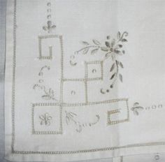 16 Vintage Embroidered Linen Napkins Taupe on Ivory Cutwork Embroidery Madeira | eBay