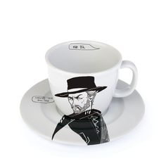 Coffee cup with black and white drawing, 25cl - CLINT - the good one