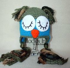 Sleepy Owl Crocheted Hat in Blue and Green