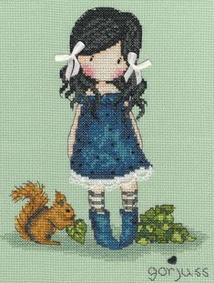 The cute little cartoon girl with the stripey socks and a red squirrel.