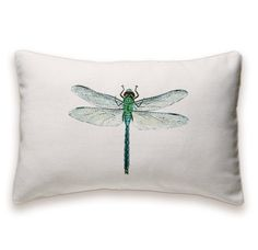Dragonfly Pillow Cover 12x18 inch White Cotton by DelindaBoutique