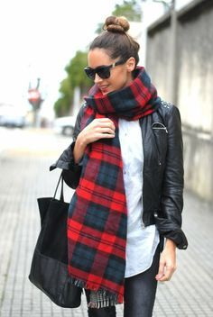 Street fashion   Winter outfits   Leather coat and oversized plaid scarf.