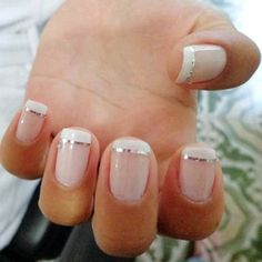 Easy To Do Polka Dot Manicure Polka dot manicures with glitter are a classic look you can do on short nails at home. nails nails,manicure nails,nail designs for short nails 2018 Cute Nails, Pretty Nails, My Nails, Classy Nails, Elegant Nails, French Manicure Nails, French Manicure With Design, French Tip Gel Nails, French Tip Nail Designs