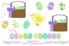 Candy Box Digital just released Happy Easter Clip Art with a bunny, basket, a cute border and eggs on Creative Market. For digital scrapbooking, journals, blogs or print them out for paper crafts.
