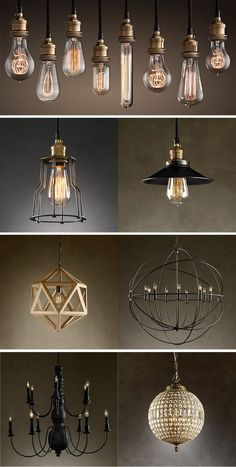 Restoration Hardware Lighting top pic - make chandeliers like this. have bulbs, get multi pendant bulb kit from online world market Decor, Industrial Lighting, Lighting Design, Restoration Hardware, Restoration Hardware Lighting, Light Fixtures, Lights, Industrial Interiors, Chandelier