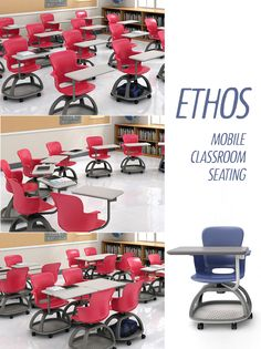 Ethos mobile classroom chairs with ambidextrous tablets swivel smoothly a full 360 degrees.