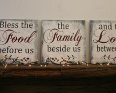 Bless The Food Before Us Wood Wallhanging Wood by RusticlyInspired