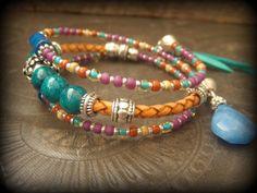 Chrysocolla, Jasper, Quartz, Bolo Leather,Colorful, Memory Wire Wrap Tribal Charm Bracelet