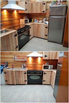 New kitchen ideas countertops diy tile Ideas Pallet Kitchen Cabinets, Kitchen Cabinet Design, Kitchen Paint, Kitchen Flooring, Kitchen Furniture, Kitchen Wood, Kitchen Tiles, Wood Cabinets, Pallet Cabinet