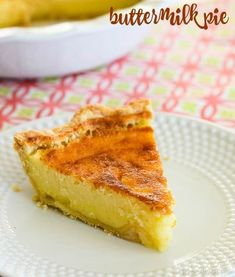 Easy Buttermilk Pie recipe - It only takes five minutes to whip together this old fashioned pie. A creamy, sweet and tangy custard filling in a flaky pastry crust is sure to become a family favorite! #buttermilkpie #buttermilk #buttermilkpierecipe #pierecipe -from Creations by Kara New Dessert Recipe, Dessert Recipes, Pie Recipes, Baking Recipes, Family Recipes, Recipies, Pie Dough Recipe, Custard Filling, Custard Pies