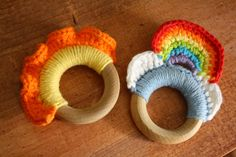 Lovely crocheted and wood teether ideas from Crunchy Catholic Momma