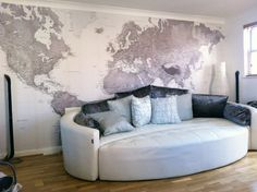 World Map Wallpaper contemporary living room