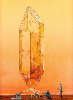 Moebius : Crystal Saga was a name given to series of prints done in 1986. A portfolio of this work was released and included many other sketches and drawings revolving around Moebius' fascination with crystals.