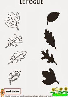 ombre foglie - Cerca con Google Printable Preschool Worksheets, Worksheets For Kids, Kindergarten Writing, Kindergarten Worksheets, Fall Preschool, Preschool Crafts, Autumn Activities, Activities For Kids, Toddler Crafts