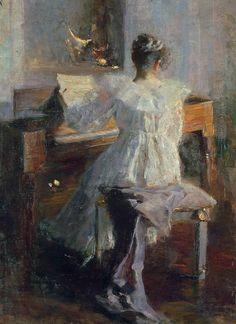 Albert von Keller  The Piano Teacher - 19th century