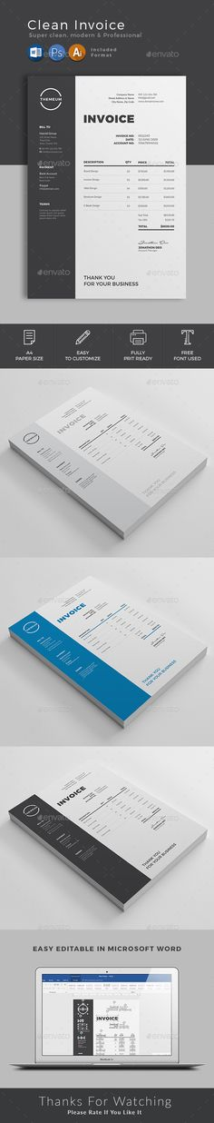 #Invoice - #Proposals & Invoices #Stationery Download here: https://graphicriver.net/item/invoice/20299772?ref=alena994