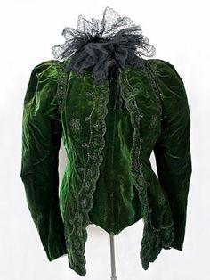 """Felix beaded velvet jacket, c.1898. Label:""""A. Felix Breveté/Faubourg St-Honoré/Paris""""."""