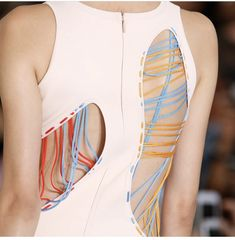 You can thread the cutouts with colorful ribbons either temporally or permanently. Fashion Details, Look Fashion, Fashion Art, High Fashion, Fashion Show, Womens Fashion, Fashion Design, Fashion Fabric, Design Textile
