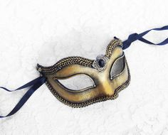 Bridesmaids!! Handpainted Steampunk Masquerade Mask In Antiqued Brass Look - Venetian Style Black and Gold New Year's Masquerade Mask on Etsy, $44.50
